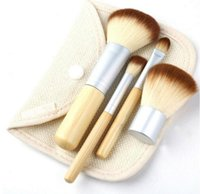 Wholesale Make Up Brush Set Bamboo - Professional 4pcs Bamboo Handle Makeup Brushes Set Cosmetic Kit Powder Eyebrow Blush Make Up Brushes Styling tools Face Care