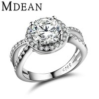 Wholesale White Zircon Ring Gold - MDEAN Round Women engagement Rings AAA Zircon White Gold Plated wedding Rings For Women classic jewelry Bague Accessories MSR319