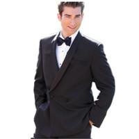 diseñador de moda ropa formal al por mayor-Nueva llegada Nuevos trajes de hombre personalizados para boda Diseñador de modas de solapa Trajes formales negros para hombres, trajes de hombres (Chaqueta + Pantalones)