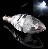 Wholesale High Power Led Candelabra Bulbs - led e14 E12 Led Lamp Bulb Light 3W Chandelier Candelabra Candle White 85-265V High Bright 270-300LM