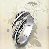 Wholesale Sp Wholesale Jewelry - 3pcs 2016 Newest Men Titanium Steel Feathers Domineering Personality Leaves Ring Influx Male Quality Punk Jewelry SP-48