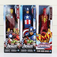 "Wholesale Superheroes Figure Toys - Super Heros Captain America Iron Man Spiderman The First Avenger Superhero 12""30CM PVC Action Figure Toy"