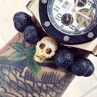 ingrosso gioielli del teschio del teschio-Mcllroy Diy Trendy Skull Charm Bracciali per uomo Nero di alta qualità Cz Northskull Uomo Bracciali Stone Stone Uomo Gioielli Pulseiras