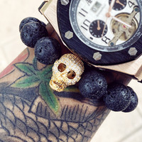 Wholesale Wood Chain Skull - Mcllroy Diy Trendy Skull Charm Bracelets For Men High Quality Black Cz Northskull Men Bracelets Lava Stone Men Jewelry Pulseiras