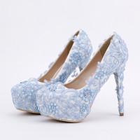 ingrosso pompa di pizzo blu-Scarpe da ballo in pizzo blu con strass fatti a mano scarpe da sposa piattaforma scarpe formali 5.5 pollici comode pompe da festa di nozze