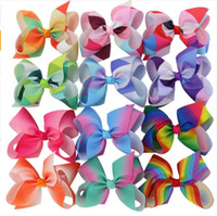 Wholesale Hair Dressing Kits - Hot 4pcs Rainbow Jojo Bows for Girls Mix Colors Hair bows for Children Trendy Kids Hair Accessories Birthday Party Dressing Up DIY kit