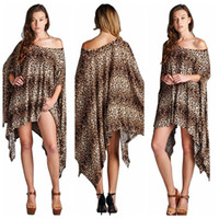 Wholesale One Shoulder Leopard Dress - Large size women fashion leopard print dress irregular bat sleeve loose cloak dress casual slim shirt