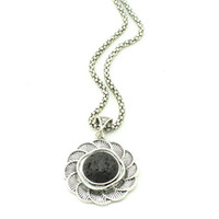 Wholesale Old Silver Crosses - N323323G Oval Necklace Black Lava Rock Volcano Pendant Vintage Look Tibet Alloy Antique Silver Old Looking