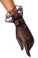 gants blancs à volants achat en gros de-Filet de dentelle noir blanc nuit de noces nuptiale élégante longueur de poignet dentelle courte résille gant de doigt