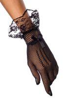 weiße netzhandschuhe großhandel-Tüll Schwarz Weiß Hochzeitsnacht Braut Classy Handgelenk Länge Kurze Spitze Fischnetz Rüschen Finger Fischnetz Handschuhe