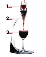 Wholesale wine tower - ECO Friendly Deluxe Wine Aerator Tower Set Red Wine Glass Accessories Quick Magic Decanter With Gift Box Crystal Acrylics Wholesale ZA1009
