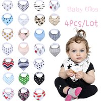 Wholesale Baby Gift Packing - Wholesale- Baby Bandana Drool Bibs, Unisex 4-Pack Gift Set for Drooling and Teething, 100% Organic Cotton, Soft and Absorbent