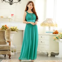 Wholesale Clothes Models Women Chiffon - Pink Blue and Green color F-3XL Plus size women clothing beading sleeveless ruched slim chiffon long evening dress