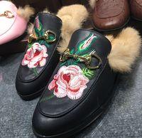 Wholesale Closed Toe Slingbacks - 2016 Best Selling Women Flat Shoes Horsebit Fur Embellished Slippers Slingback Casual Shoes Wholesale Drop Shipping,size35-42