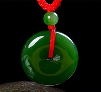 Wholesale Jade Bi - The explosion of hot goods outside the Mongolian material and Tian Bi Yu Ping buckle spinach green jade pendant jade pendant