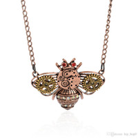 Wholesale Gold Bee Necklace - Cute Bee Gear Rhinestone Pendant Necklace Vintage Steampunk Necklace Ancient Copper Mechanical Animal Jewelry For Women's Accessories G