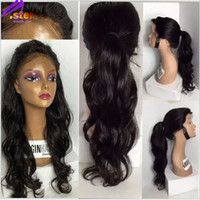 Wholesale Synthetic Lace Wig Hairline - High quality long body wave synthetic wigs for black woman black synthetic lace front wig heat resistant natural hairline