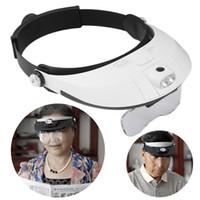 Wholesale Placa Led - Hot 2 LED Iluminado Lupa Lupa Óculos Headband do Single Bi-placa 11 Ampliações 5 lens Nova
