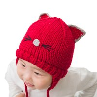 bcea530b935 Unisex Cat Ear Beanies Child Cute Cat Design Knit Earflap Hats Baby Kid  Winter Warm Earmuffs Caps MZ4234