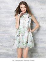 Wholesale Sleeveless Mandarin Collar Dress - Summer retro cheongsam mandarin collar sleeveless printing middle length dress