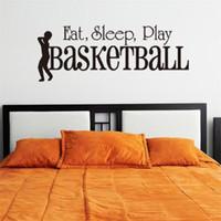 los niños juegan arte en casa al por mayor-3D SLEEP PLAY Baloncesto etiqueta de la pared cotizaciones Art Home Decor Art Decals Kids Boy Room Decor pegatinas de pared para habitaciones de niños