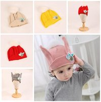 Wholesale Baby Bee Hat - Kids Hat Fur Pompom Animal Bees Baby Boys Girls Winter Poms Beanie Hats Wool Knitted Warm Caps For Children DHL Free Shipping