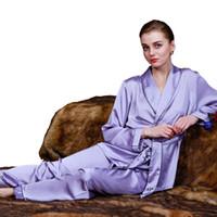 lila satin-pyjama großhandel-Emulation Silk Satin Frauen Pyjamas Sommer Stil Nachtwäsche Mode Lila Unterwäsche Zweiteiler Pyjama Femme