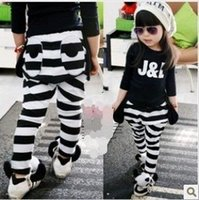 Wholesale Dog Girls Pants - girl pants Trouser girl Black and white stripes dog design pant spring and autumn period pants children pants