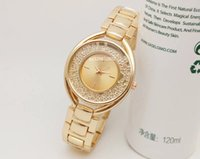 Wholesale Ladies Watches Small Dial - Luxury brand famous fashion elegant Ladies designer rose gold watch women aaa quality plastic crystal diamond Small dial Alloy steel strip