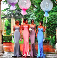 Wholesale white wedding candy - Candy Color Lace Bodice Bridesmaid Dresses For Wedding 2016 Spaghetti Mermaid Maid Of Honor Gowns Back Covered Buttons Formal Party Dresses