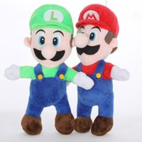 Wholesale luigi party - 2 Colors 25cm Cartoon Super Mario Bros Stand MARIO LUIGI Plush Toy Stuffed Doll Baby Toys Kids Gift Party Favor CCA8052 120pcs