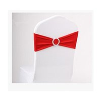 Wholesale Stretch Chair Sashes - 100pcs   lot Red Elastic Lycra Chair Sash Wedding Spandex Stretch Chair Band With Plastic Round Buckle
