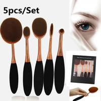 Wholesale Tooth Brush Kits - Professional 5pcs Set Oval Brush Tooth brush shaped Makeup Brush Set Foundation Powder make up Tools Beauty Cosmetic with retail box