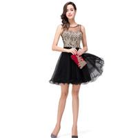 974d521d2 negro graduación pura vestidos al por mayor-Nuevos vestidos de noche Moda  corto Negro Lace