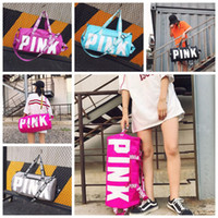 Wholesale Secret Cell - 5 Colors Pink Duffel Bags Canvas Secret Storage Bag Unisex Travel Bag Waterproof Victoria Casual Beach Exercise Luggage Bags CCA6912 10pcs