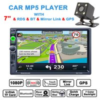Wholesale Free Link Building - DHL Free 7 Inch HD 2 Din Bluetooth Car Stereo MP5 Player GPS Navigation AM FM RDS Radio Support Mirror Link Aux + Rear View Camera CMO_22H