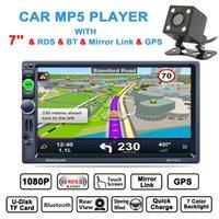 navigation caméra miroir achat en gros de-DHL Gratuit 7 Pouces HD 2 Din Bluetooth Stéréo De Voiture Lecteur MP5 GPS Navigation AM FM RDS Radio Miroir Lien Aux + Arrière Caméra CMO_22H