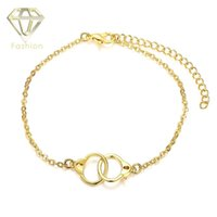 Wholesale Double Handcuffs - Online Gold Plated Jewellery New Fashion Double Circles Link Creative Romantic European Style Handcuffs Bracelets for Women