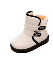 Wholesale Snow Boots For Kids Waterproof - Girls Boy Boots For Kid Snow Botas Winter Warm plush Baby Boot Waterproof Soft Bottom Non-slip Leather Booties Kids Shoes