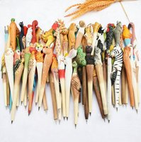 Wholesale Wood Ball Point Pens - 200pcs lot Animal Wooden carving creative ballpoint pen wood Ball point pens handmade sculpture student ball-point free shipping