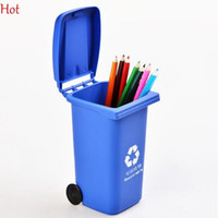 Wholesale Plastic Desk Organizers - Nice Creative Recycle Can Pen Vase Pencil Pot Makeup Brush Holder Stationery Desk Tidy With Wheel Container Gift Desktop Organizers SV125881