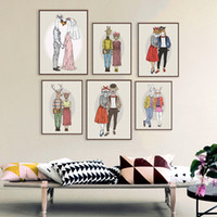 Wholesale Wedding Couples Pictures - Modern Fashion Animal Deer Giraffe Love Couple Art Print Poster Home Wall Picture Canvas Painting No Frame Wedding Decoration