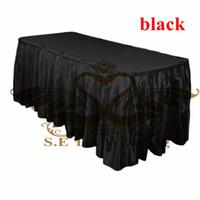 Wholesale Black Satin Table Cloths - Satin Table Skirt Wedding Table Cloth Skirting Free Shipping - Black Color
