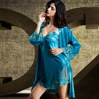 Wholesale Silk Nightgowns Blue - Summer 2016 Sale Women Robe Sets Emulation Silk Nightgown Full Sleeve Two-piece Nightdress Lace Embroidery V-Neck Bathrobe 8204