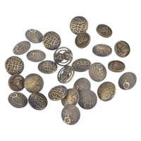 "Wholesale Antique Shank Buttons - 2016 Fixed Mixed Antique Bronze Color Round Shape Pattern Engraved Metal Buttons With Shank 17mm(0.67"") Pack of 50pcs I383L"