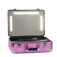 Wholesale Light Pink Storage Boxes - Portable Travel Cosmetic Case Bag Women Makeup Organizer Box with Lights Led Storage Cosmetic Cases Black  Pink  Golden