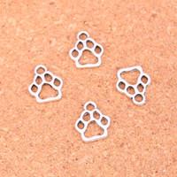 köpek antik gümüş kolye toptan satış-200 adet Antik Gümüş Kaplama köpek paw Charms Kolye Avrupa Bilezik Takı Yapımı için DIY El Yapımı 13 * 11mm