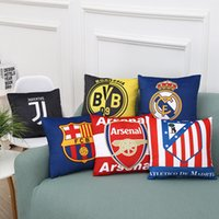 Wholesale Real Madrid Case - Real Madrid Football Pillow Case Personality Football Team Square Cushion Sofa Car Livingroom Bedroom Pillow Covers Free DHL XL-G223