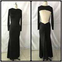 Wholesale Teen Spandex - Real Photos 2017 Simple Black Mermaid Prom Dresses Sexy Open Back Long Sleeves Dress For Teens Evening Gowns