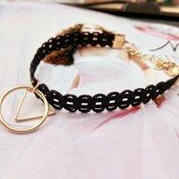 schwarzes gold dreieck armband großhandel-Europa und die Vereinigten Staaten Mode Schmuck Mode Japan und Südkorea schwarzer Spitze Rand geometrische Dreieck Sterne Armband